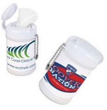 Travel or Desk Size Canister filled with 30 Antibacterial Sanitizer Wipes.  Travel or Desk Size Canister filled with 30 Antibacterial Sanitizer Wipes.