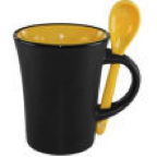 cofffee mug ..ceramic wiith matching spoon.