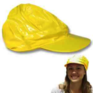 Neon Yellow Vinyl Newsboy Hat ..vinyl