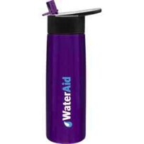 Single wall Stainless Steel Water Bottle Hydra-24 oz.  with threaded lid and flip up straw for cold beverages